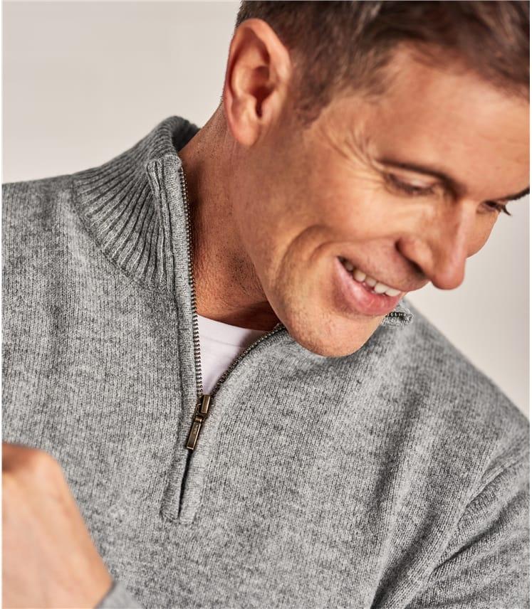 Pullover mit kurzer Reißverschluss aus Lammwolle für Herren