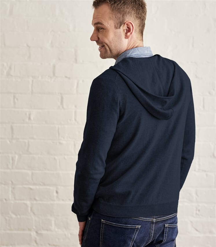 Mens Cashmere Cotton Zip Through Hoodie