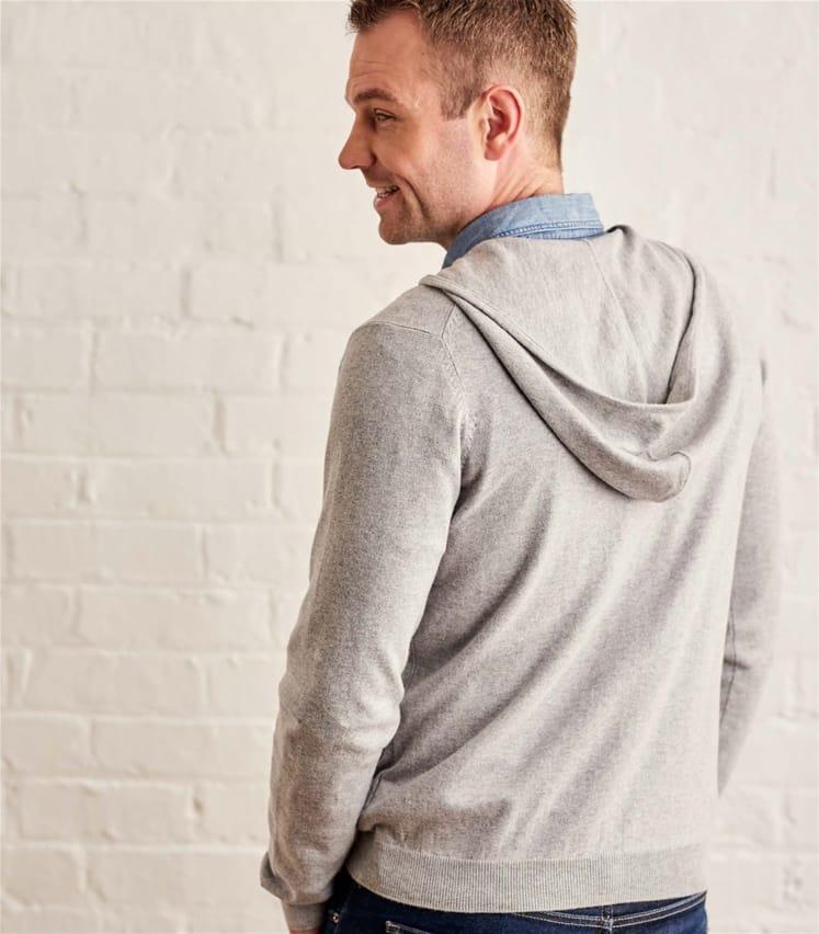Mens Cashmere Cotton Zip Through Hoodie