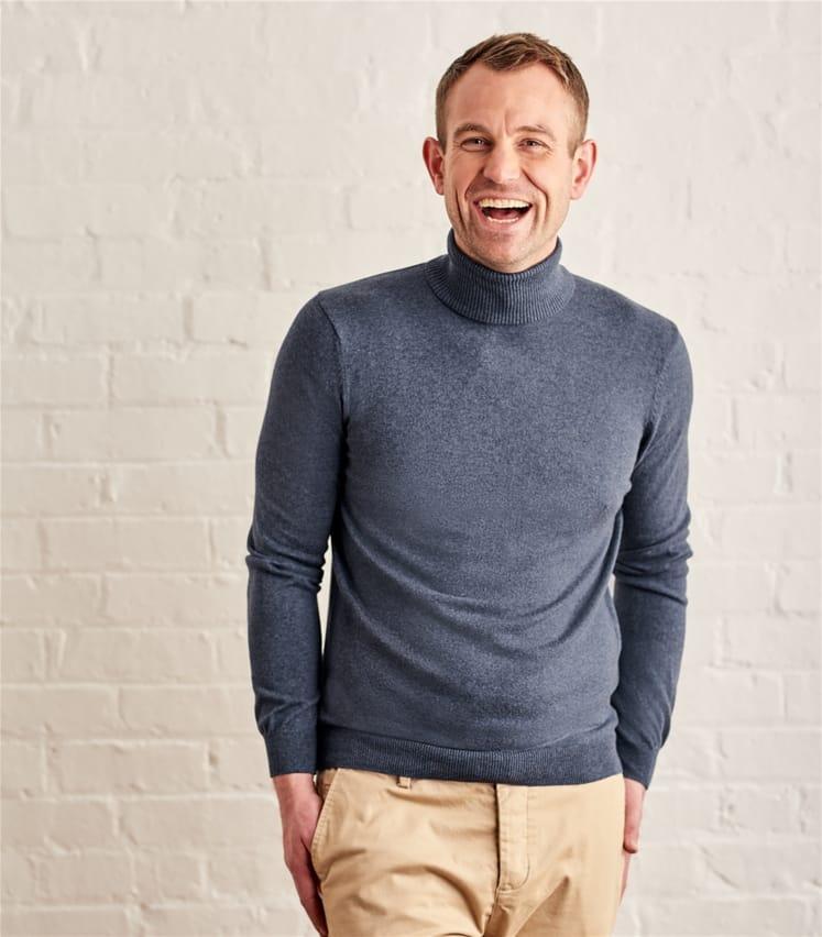 Mens Silk and Cotton Polo Neck Jumper