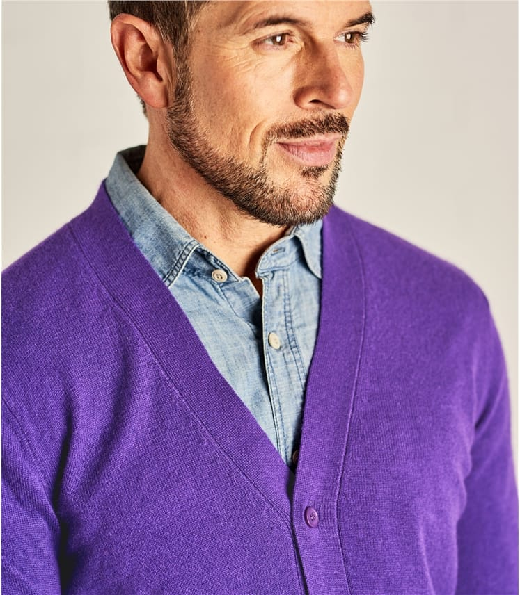 Mens Cashmere and Merino V Neck Cardigan