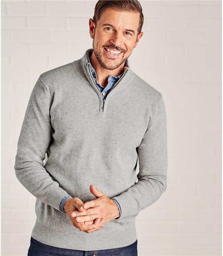Мужской свитер на молнии из кашемира и шерсти мериноса