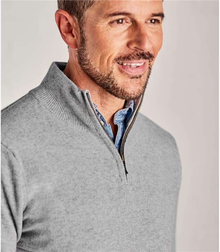 Pullover mit kurzem Reißverschluss aus Merino- und Kaschmirwolle für Herren