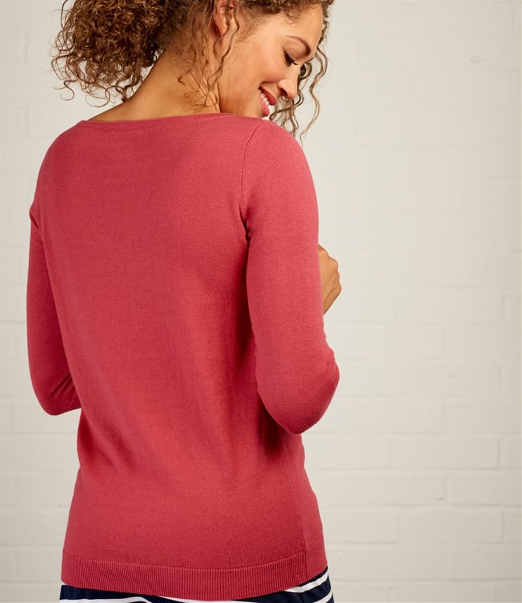Womens Cotton Silk Boat Neck 3/4 Sleeve Jumper