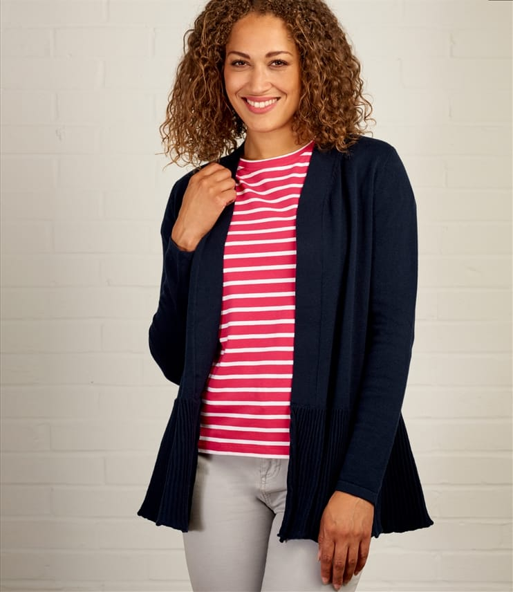 Womens Edge to Edge Pleat Cardigan