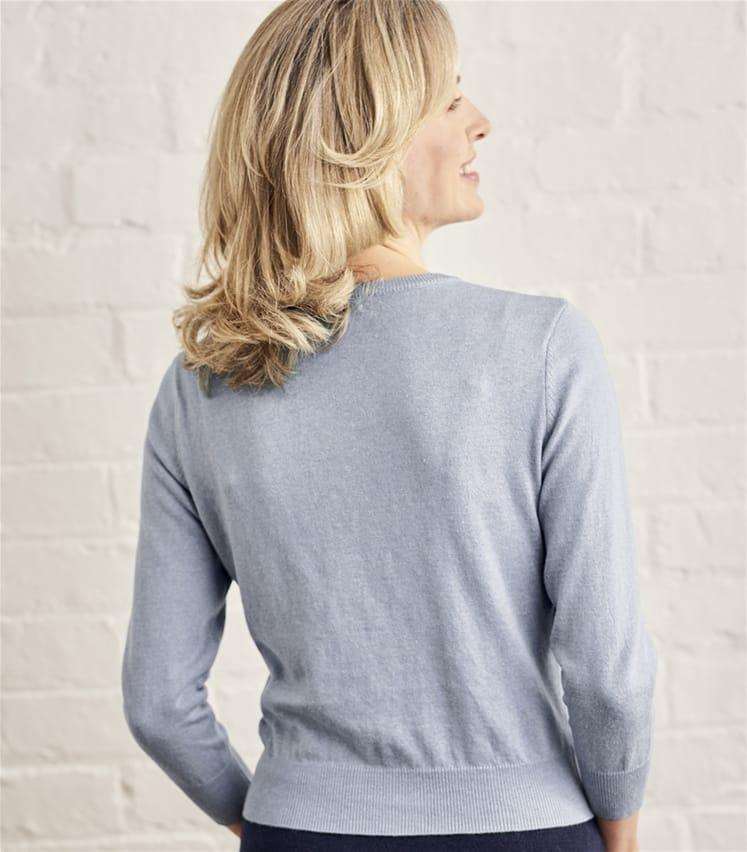 Womens Silk and Cotton 3/4 Sleeve Crop Cardigan