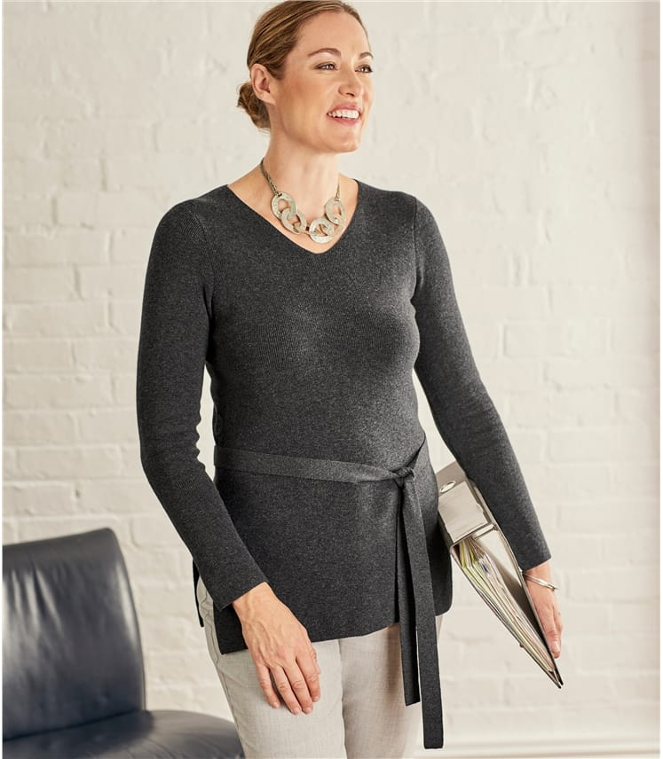 Womens Smart Tie Waist Tunic
