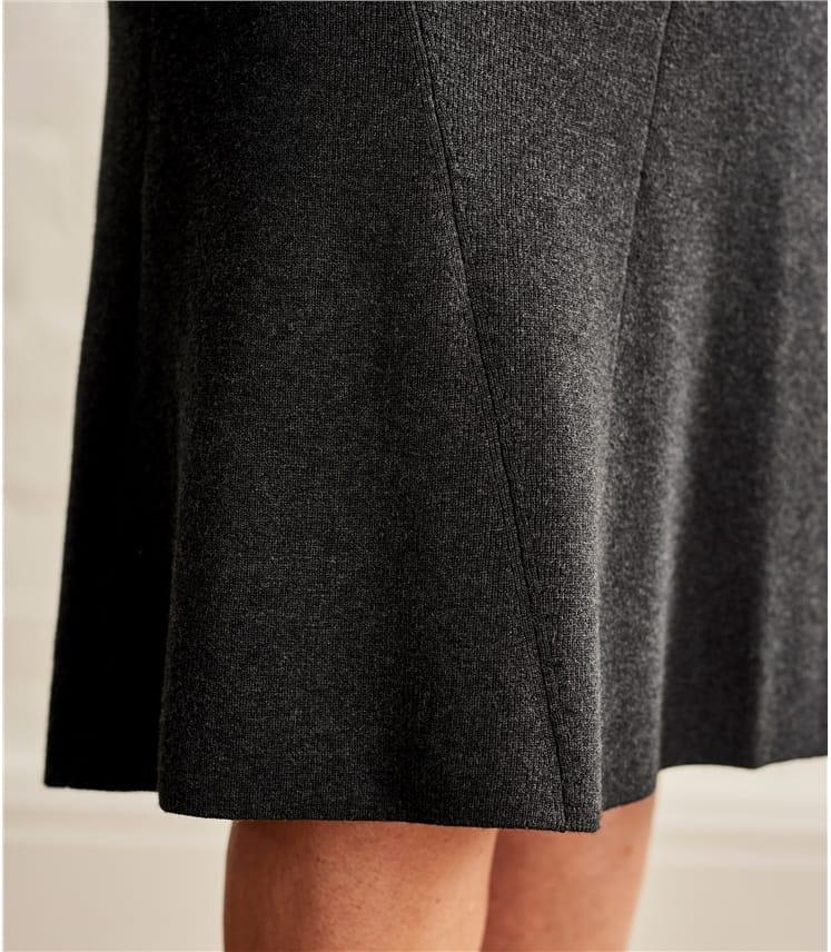 Midi Rock in geripptem Strickmuster aus Wollmischung für Damen