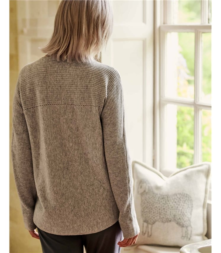 Cashmere Merino Rib Yoke Pointelle Sweater