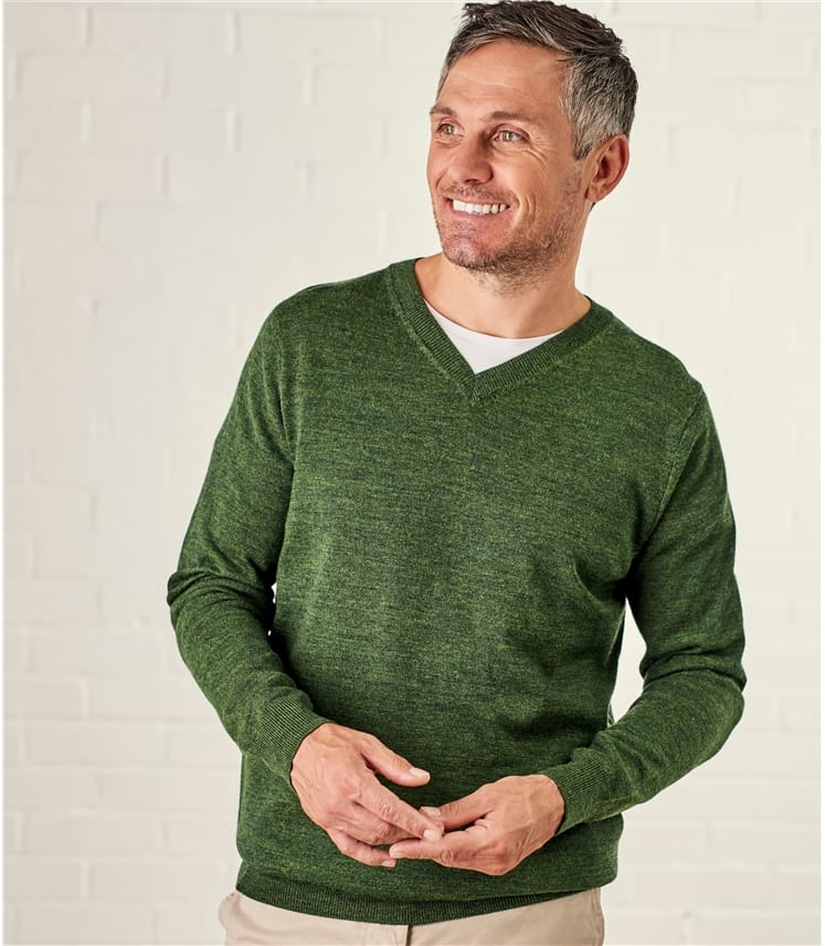 Mens New Merino V Neck Sweater