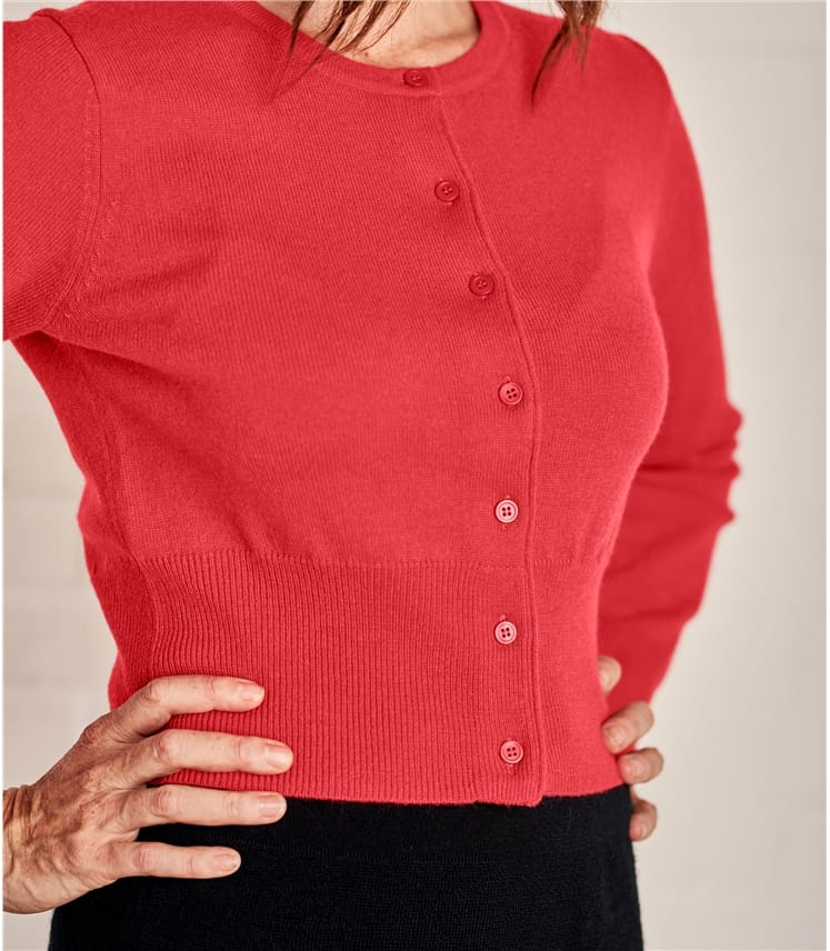 Womens Crew Neck Cropped Cardigan