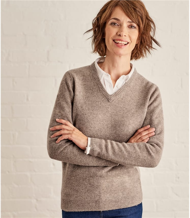Womens Lambswool V Neck Jumper