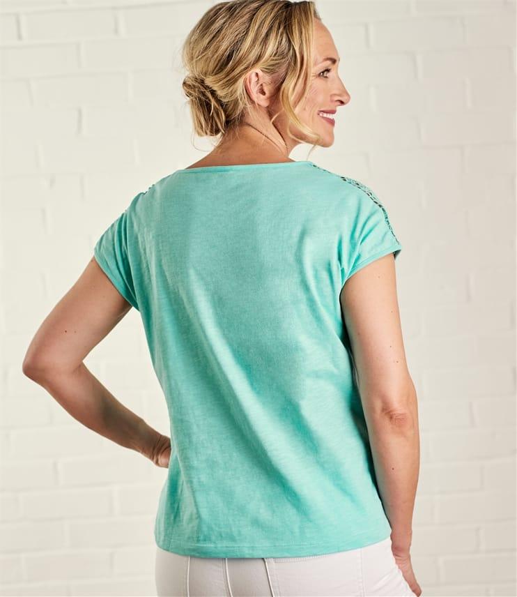 Womens Crochet Sleeve T-Shirt