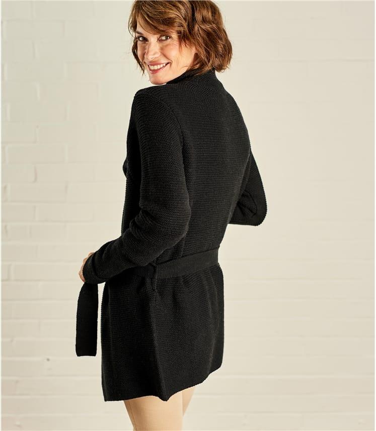 Womens Chunky Stitch Belted Cardigan