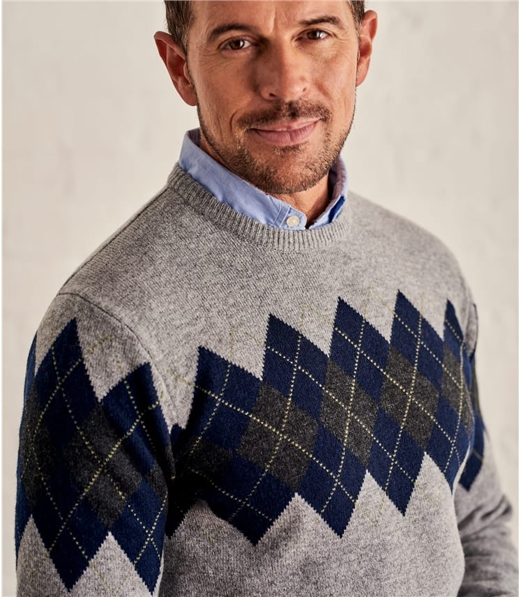 Pullover mit Argyle-Muster aus Lammwolle für Herren