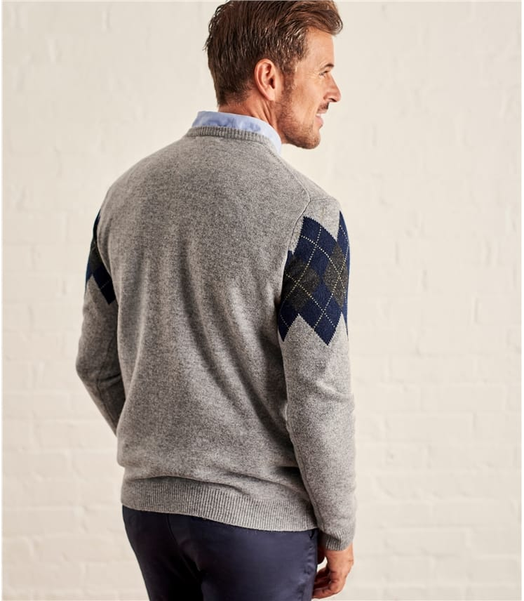 Mens Lambswool Crew Neck Argyle