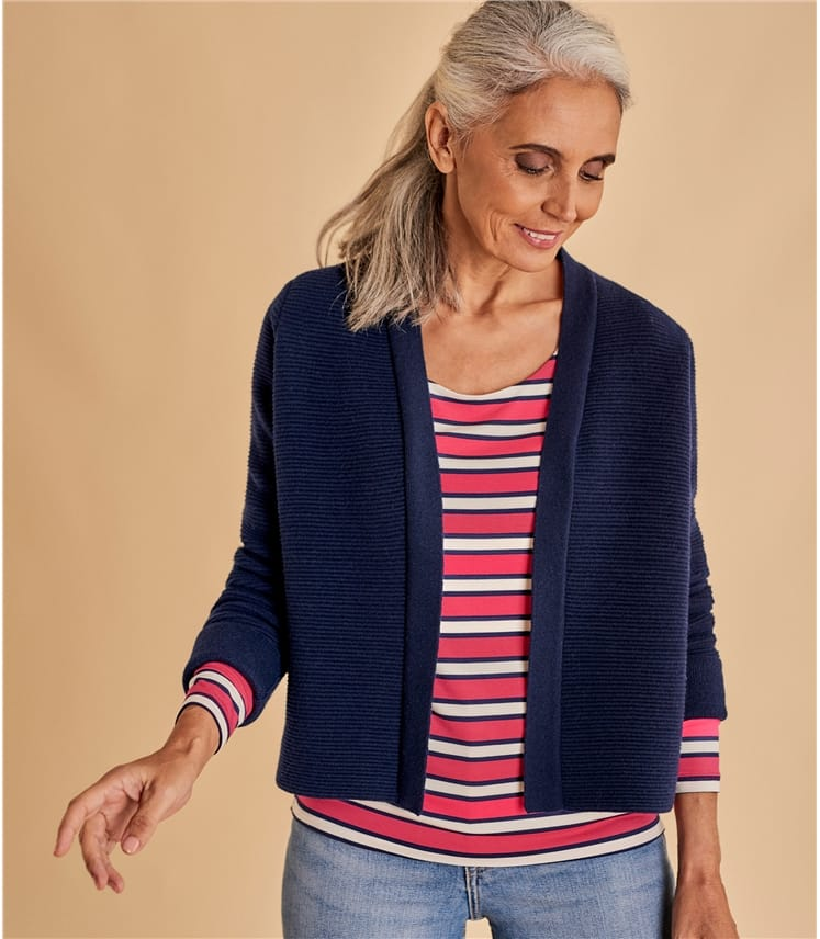 Womens Cashmere and Merino Ripple Stitch Jacket