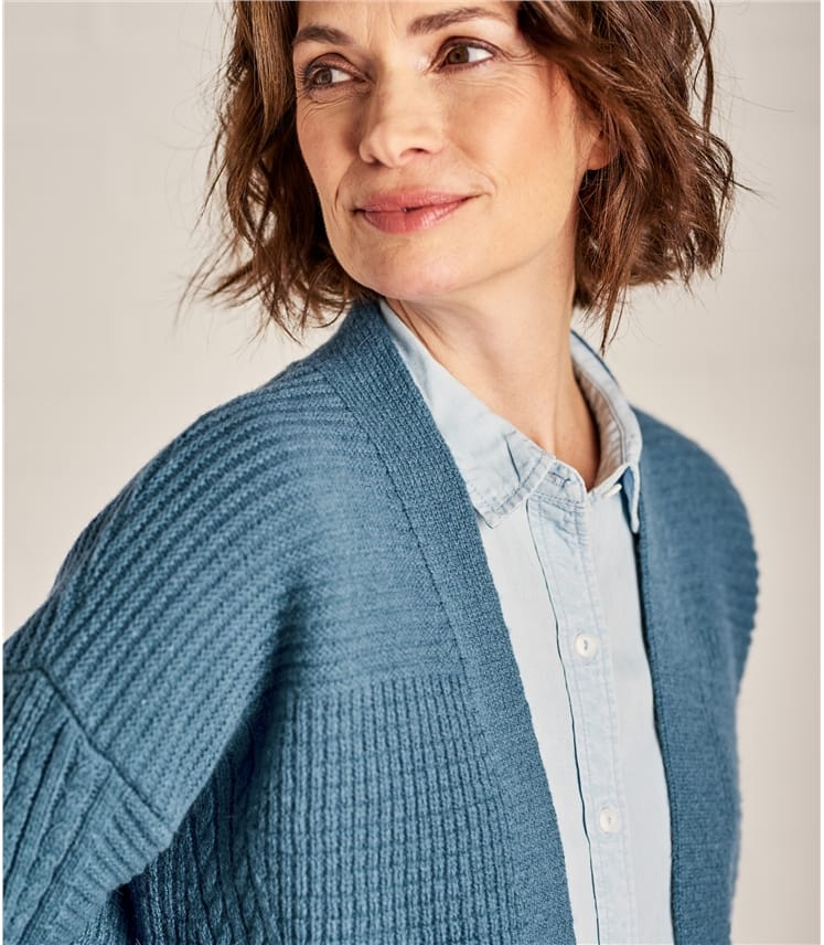 Womens Textured Edge to Edge Cardigan