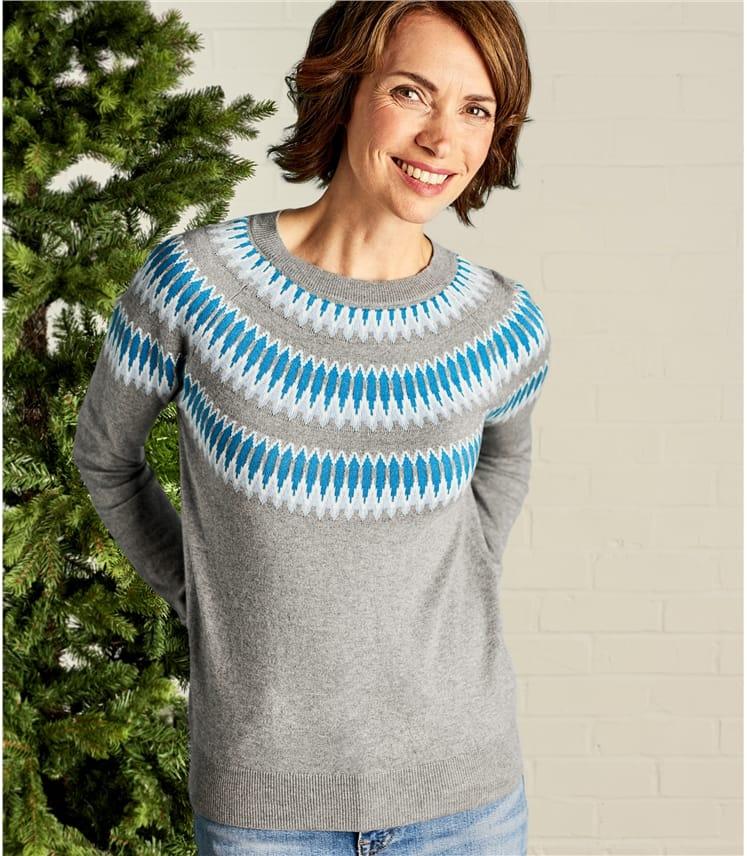 size 40 0b549 3a2d8 Raglan Pullover aus Wollmischung mit abstraktem Norweger Muster für Damen