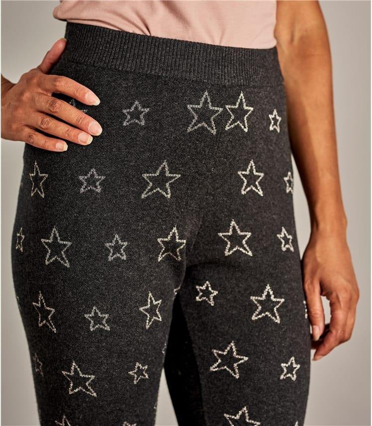 Leggings mit Sternemotiv aus Wollmischung für Damen