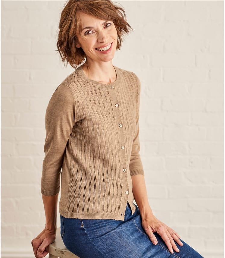 Womens Lace Stitch Cardigan