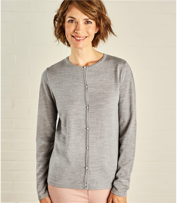 Womens Pearl Button Cardigan