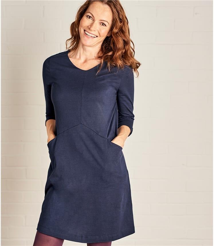 Jersey Tunika mit 3/4 langen Ärmeln aus Baumwolle und Modal für Damen