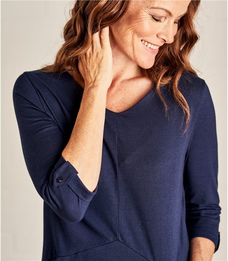 Women 3/4 Sleeve Tunic Dress