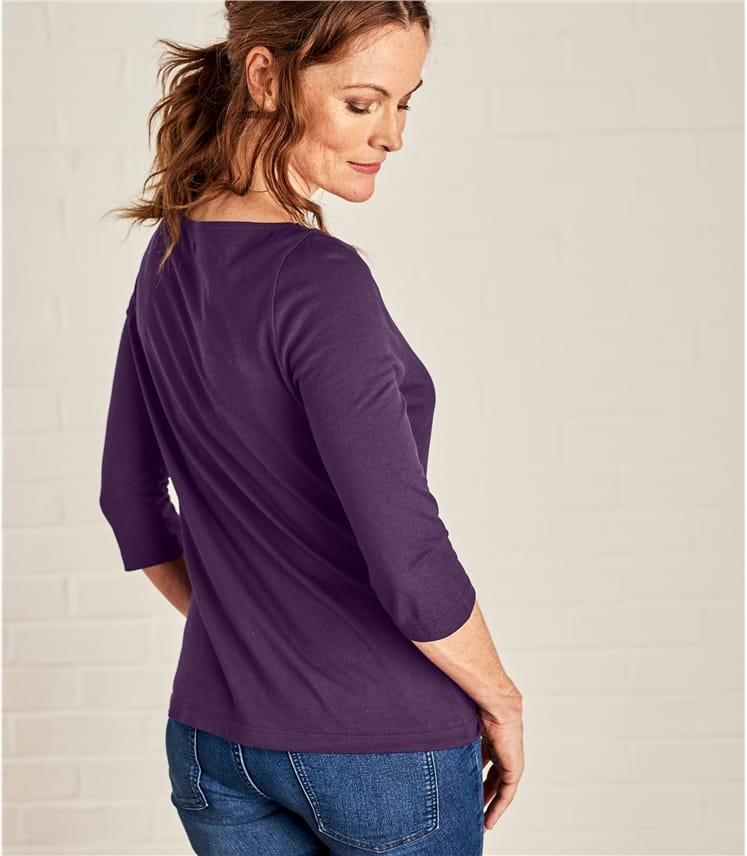 Womens Jersey 3/4 Sleeve Boat Neck Tee