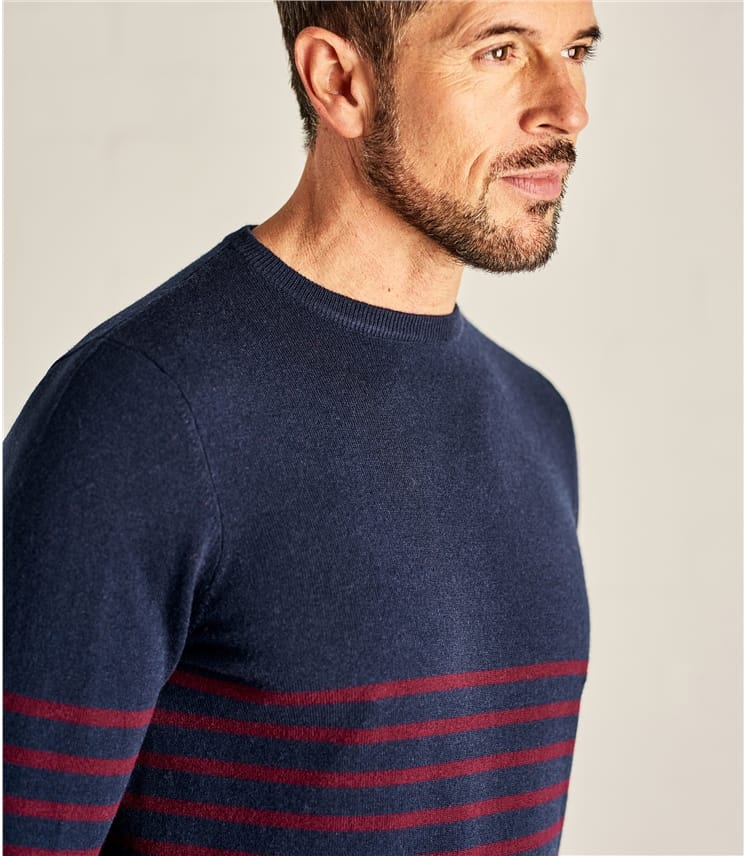 Mens Stripe Crew Neck