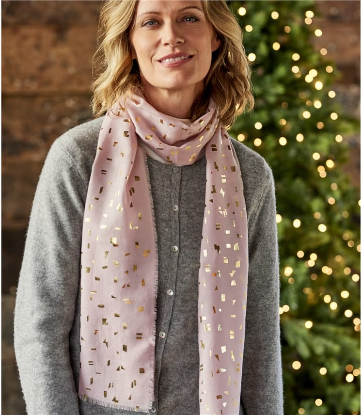 Womens Woven Foil Scarf