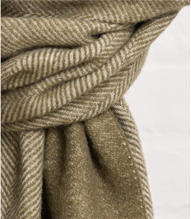Mens Pure Wool Herringbone Scarf