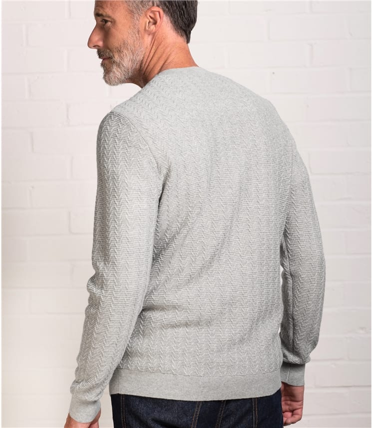 Mens Stitch Interest Crew Neck Jumper