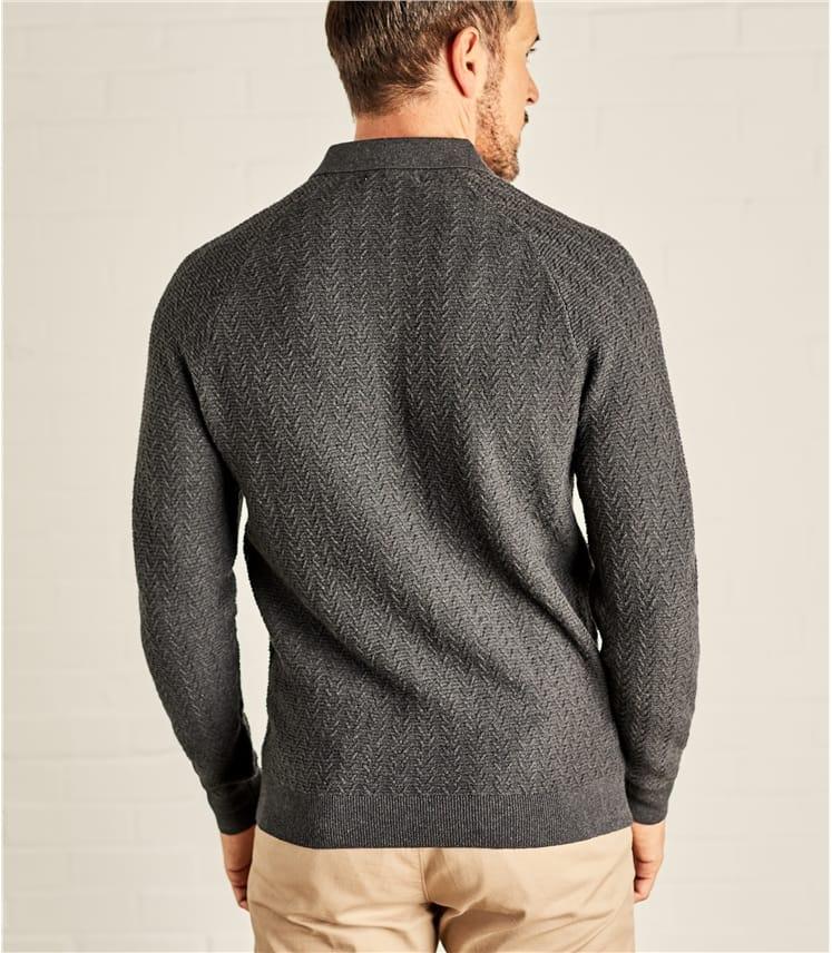 Mens Textured Stitch Polo Shirt