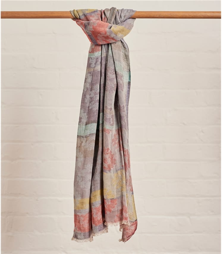 Womens Floral Jacquard Scarf