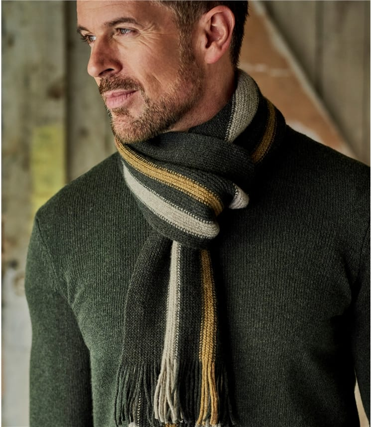 Mens Lambswool Vertical Stripe Scarf