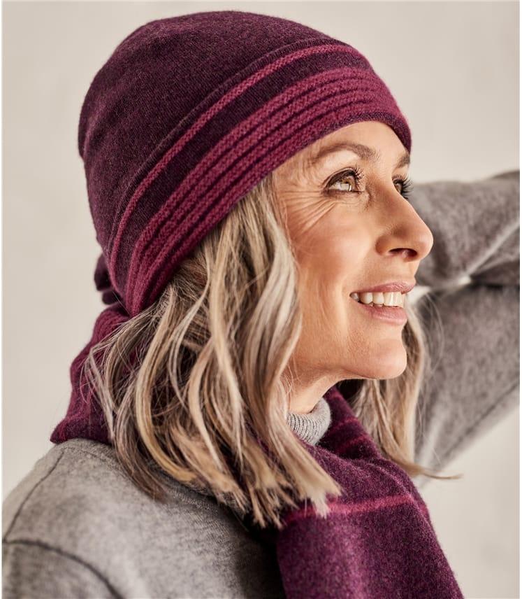 Bonnet à rayures bicolore - Femme - Laine d'Agneau
