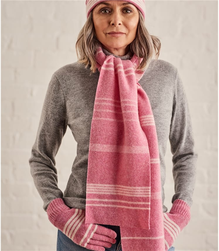 Womens Two Colour Stripe Scarf