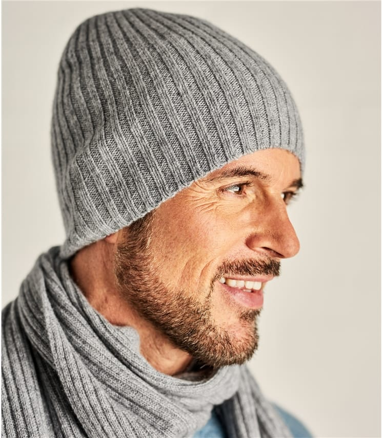 Mens Pure Cashmere Ribbed Hat