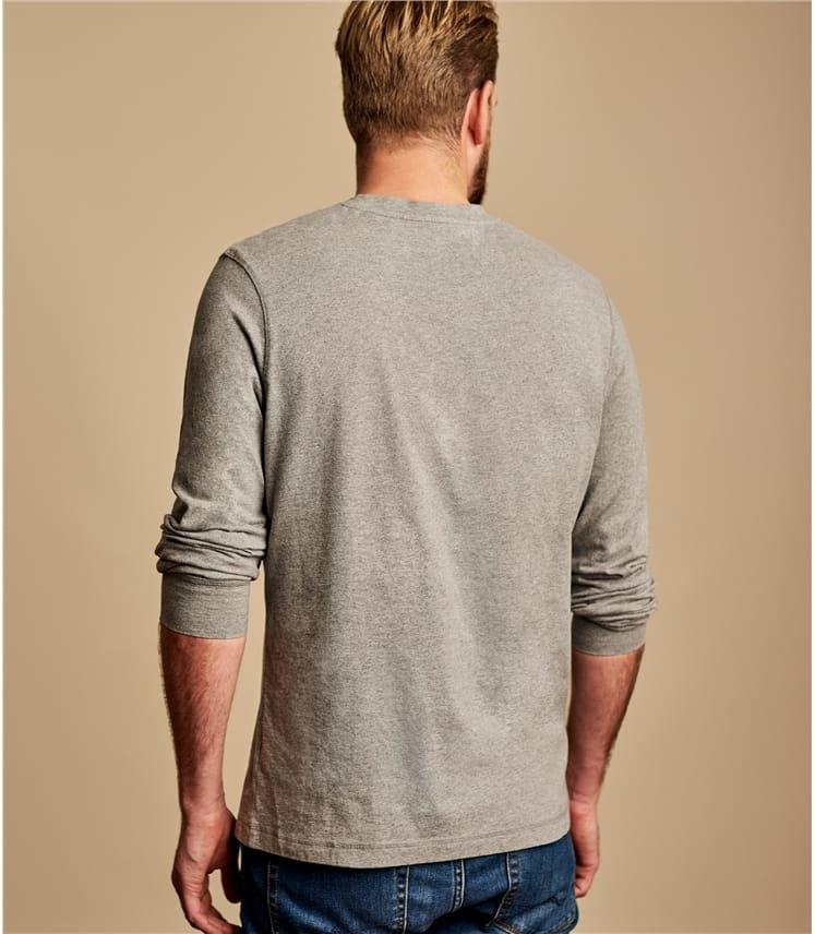 Mens Henley Button Long Sleeve T-shirt