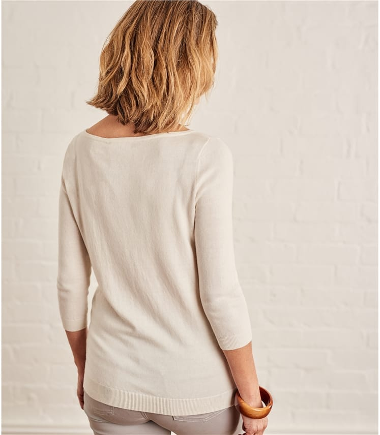 Womens Cotton Silk Boat Neck 3/4 Sleeve Jumper