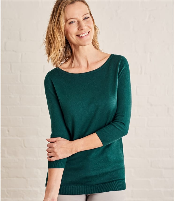 Womens Cotton Silk Boat Neck 3/4 Sleeve Sweater