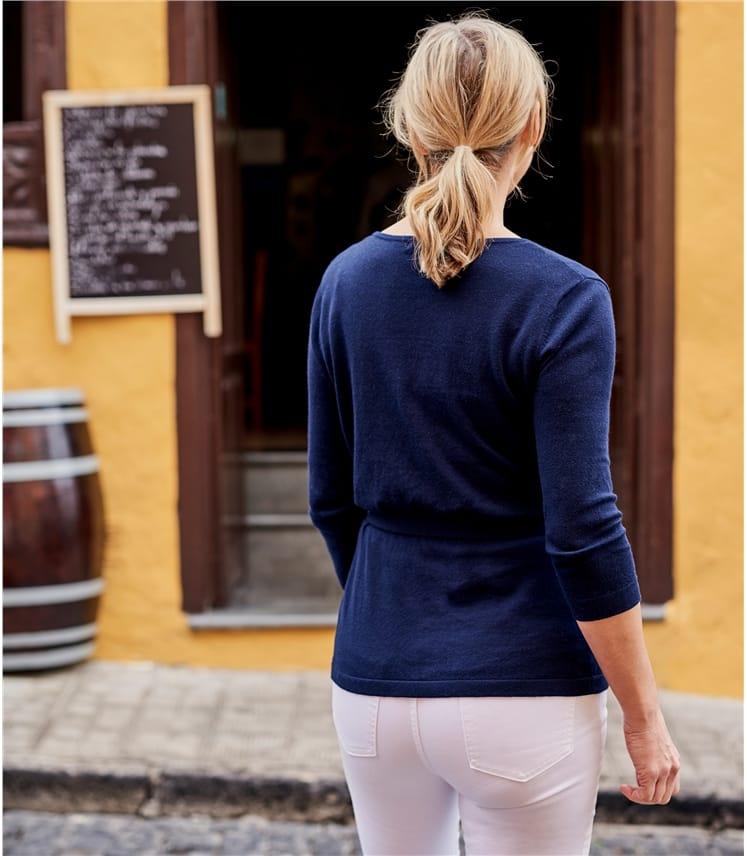Wickeltop aus Seide und Baumwolle für Damen