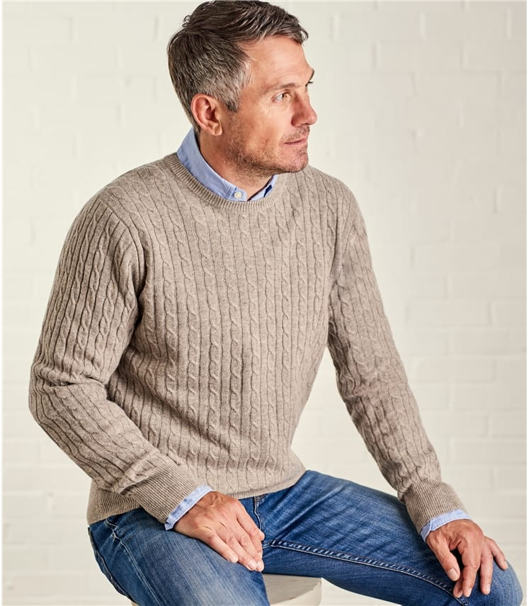Mens C/M Cable Crew Neck Jumper