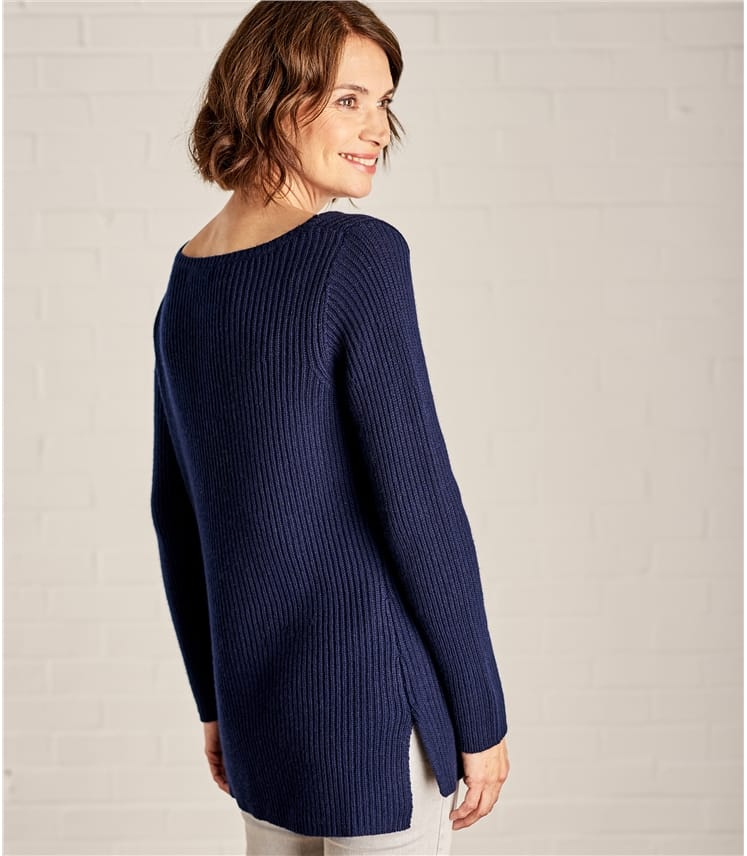 Womens Boat Neck Relaxed Rib Jumper