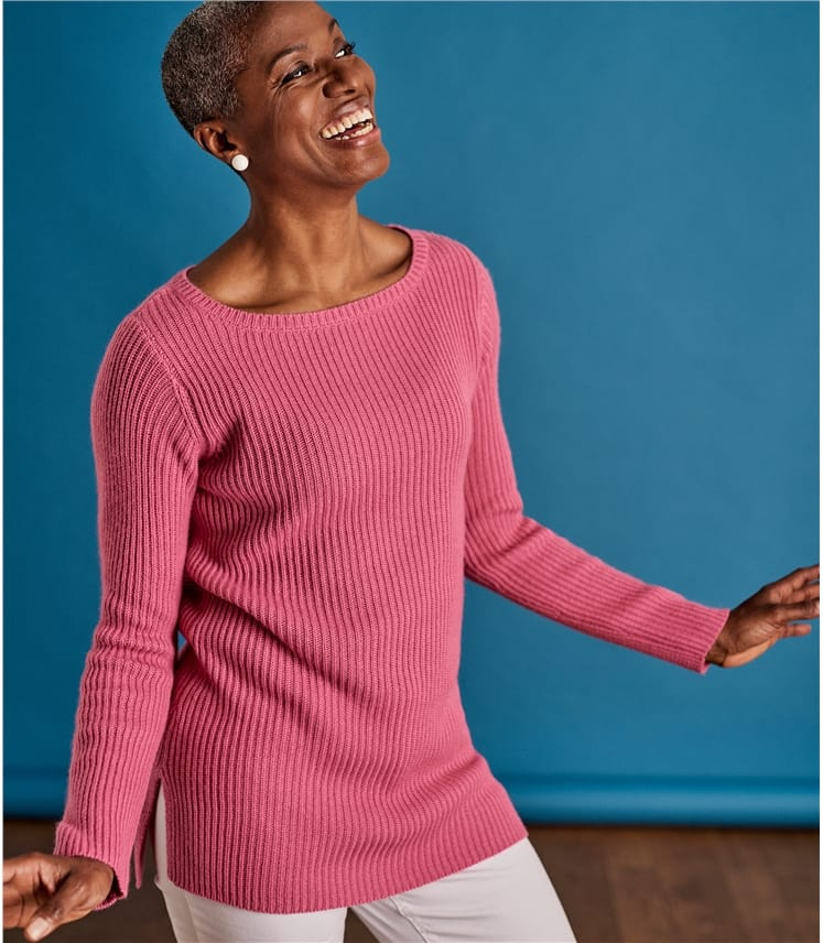 Womens Boat Neck Relaxed Rib Sweater