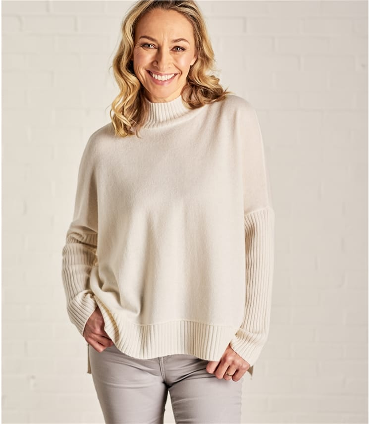 Womens Rib Trim Turtle Neck