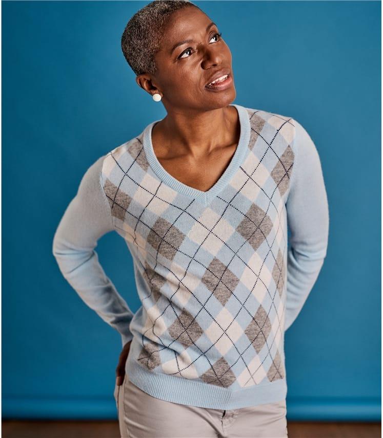 Womens V Neck Argyle Sweater