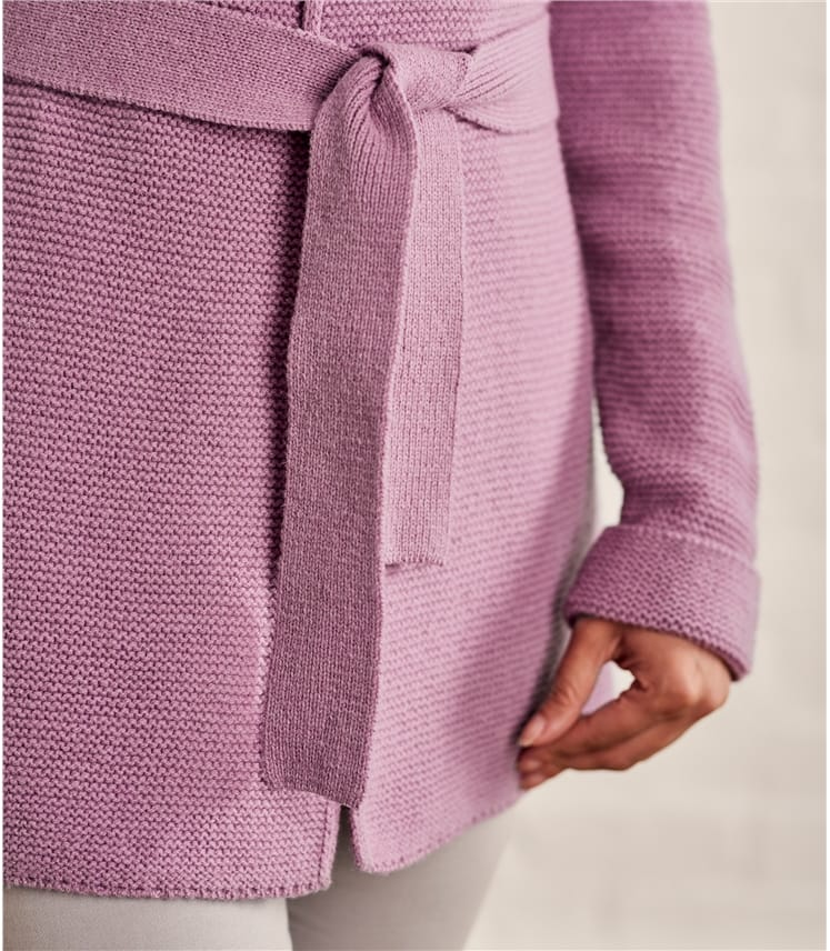 Womens Chunky Stitch Belted Cardigan