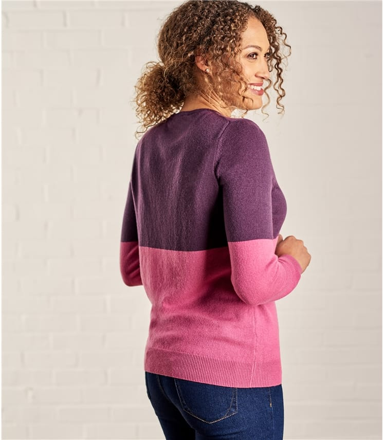 Womens Cashmere Merino Colourblock Crew Neck Jumper